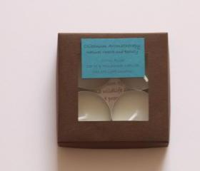 Natural wax tea light candles set of 4 in Citrus Rush, handmade by Olibanum Aromatherapy in the UK