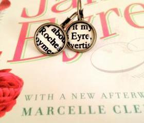 Jane Eyre and Mr Rochester Antiqued Bronze Book Page Earrings