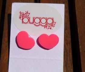 Neon Pink Heart Shaped Stud Earrings,Plexiglass Earrings,Lasercut Acrylic