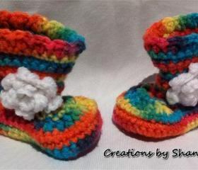0 to 3 months Baby Crocheted Rainbow Boots with Flower