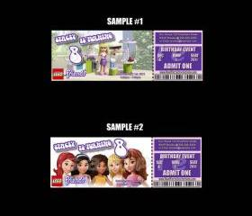 Lego Friends Ticket Style Personalized Party Invitations
