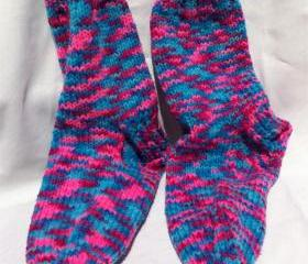 Purple Pink Blue Womens Sock Socks size 9 10 shoe