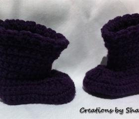 0 to 3 months Baby Crocheted Purple Boots