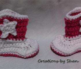 0 to 3 months Baby Crocheted Cowboy Boots Pink White
