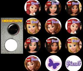 Lego Friends Set of 12 Buttons Make Great Party Favors