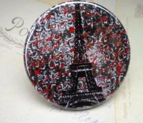 Pocket Mirror - Eiffel Tower Black & Red