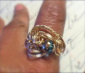 Scroll Open Worked Wire Wrapped Brass Ring