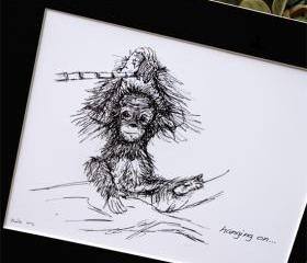 Original art illustrative print, Orangutan (10' x 12')