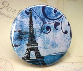 Pocket Mirror - Eiffel Tower Blue