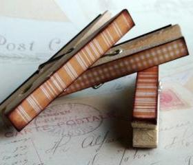 Orange Checks and Stripes - Decorated Clothespins Fridge Magnets - Set of 3