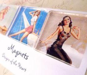 Square Glass Magnet set - Pinup Girls