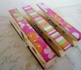 Tutti Frutti - Decorated Clothespins Fridge Magnets - Set of 3