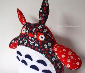 Funny Strawberry Totoro soft toy: dark blue/ red/ white **