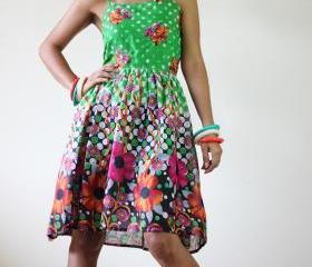 Short Dress Summer - Floral Polka Dot smock dress