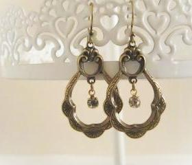 Brass Scallop Art Nouveau Dangle Hoop Rhinestone Earrings, Antique Earrings, Bridesmaid, Vintage Swarovski Rhinestone, Old Hollywood