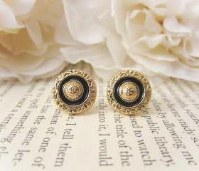 Vintage Gold and Black Floral Earrings, Enamel Stud Earrings, Vintage Button Earrings, Fall Fashion, Post Earrings, Bridesmaid Earrings