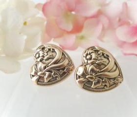 Heart and Bow Vintage button earrings,Studs or Clip on, Gold Heart Studs, Fancy Heart Clip on, Bridesmaid Earrings, Bridal Party