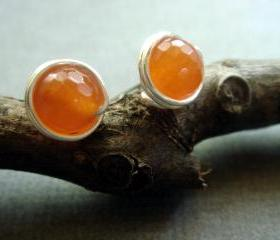 Fresh Orange Drops Carnelian Stud Earrings