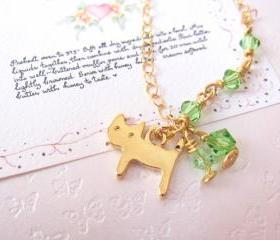 Kitty Luvs Green Necklace -14K gold with Swarovski Crystals