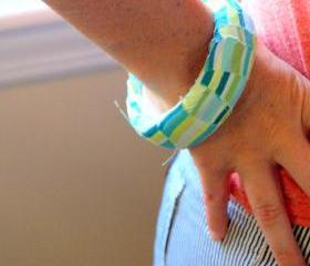 Fabric Bangle - Blue and Green Stripes