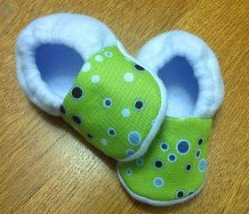 Bubbles in Lime Green and Blue Fleece Baby Booties