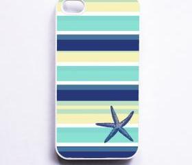 Nautical iPhone 4 Case - Seaside Stripe Starfish - iPhone 4S Case