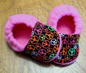 Mod Peace Signs and Pink Fleece Baby Booties