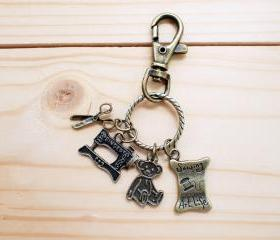 Charm Key Chain, Sewing machine and Teddy Bear