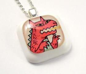 Red Monster Resin Pendant