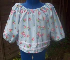 Girls blue floral cotton smock top