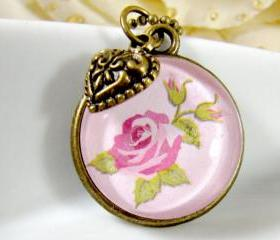 Vintage style pink flower necklace, handmade glass cabochon