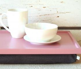 Breakfast serving or Laptop Lap Desk- Pink with Grey Pillow