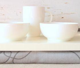 Laptop Lap Desk or Breakfast serving Tray - Off White with light Grey- Custom Order