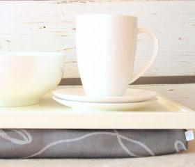 Laptop Lap Desk or Breakfast serving Tray - Off white with grey- Custom Order