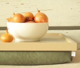  Laptop Lap Desk or Breakfast serving Tray - Creme with haki Green- Custom Order