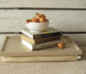 Laptop Lap Desk or Breakfast serving Tray - Creme with multicolor Dots- Custom Order