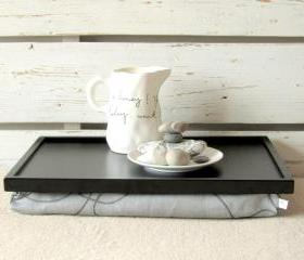  Laptop Lap Desk or Breakfast serving Tray - Brack with Grey- Custom Order