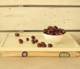 Laptop Lap Desk or Breakfast serving Tray - Off White with Creme Dotty- Custom Order