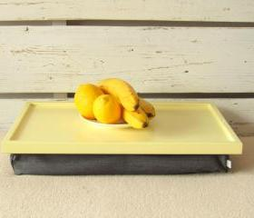 Laptop Lap Desk or Breakfast serving Tray- Yellow with Grey Pillow