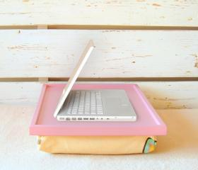  Laptop Lap Desk or Breakfast serving Tray - Pink with Creme Multicolr spots- Custom Order