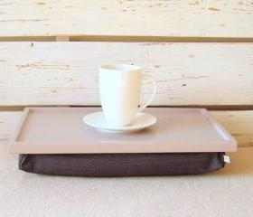 Breakfast serving or Laptop Lap Desk- Soft Grey with Grey Pillow