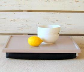  Breakfast serving or Laptop Lap Desk- Soft Grey with Black- Custom Order