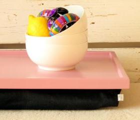 Breakfast serving or Laptop Lap Desk- Pink with Black Linen fabric- Custom Order