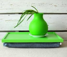Laptop Lap Desk or Breakfast serving Tray - Lime Green with Denim- Custom Order