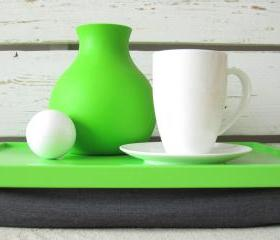 Laptop Lap Desk or Breakfast serving Tray - Lime green with Grey Pillow