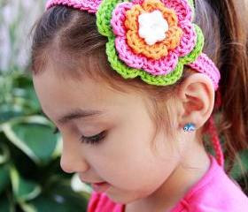 Crochet Flower Clip Headband - Hot Green- Hot Pink- Orange