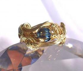 Scrolling Band Wire Wrapped Brass Ring