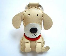 Susan the Labrador Leather Keychain ( Cream )