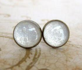 White Stud Earrings, Glitter Earrings, Resin Faux Plugs, Snow Earrings - SNOW QUEEN