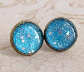 Sky Blue Earrings, Post Earrings, Stud Earrings, Resin Earrings, Glitter Earrings, Sparkly Earrings, Fake Plugs, Faux Plugs
